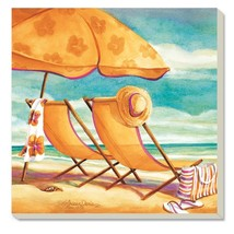 Counter Art 87029 Sunkissed Sandy Beach Chairs Absorbent Stoneware Coast... - $16.24