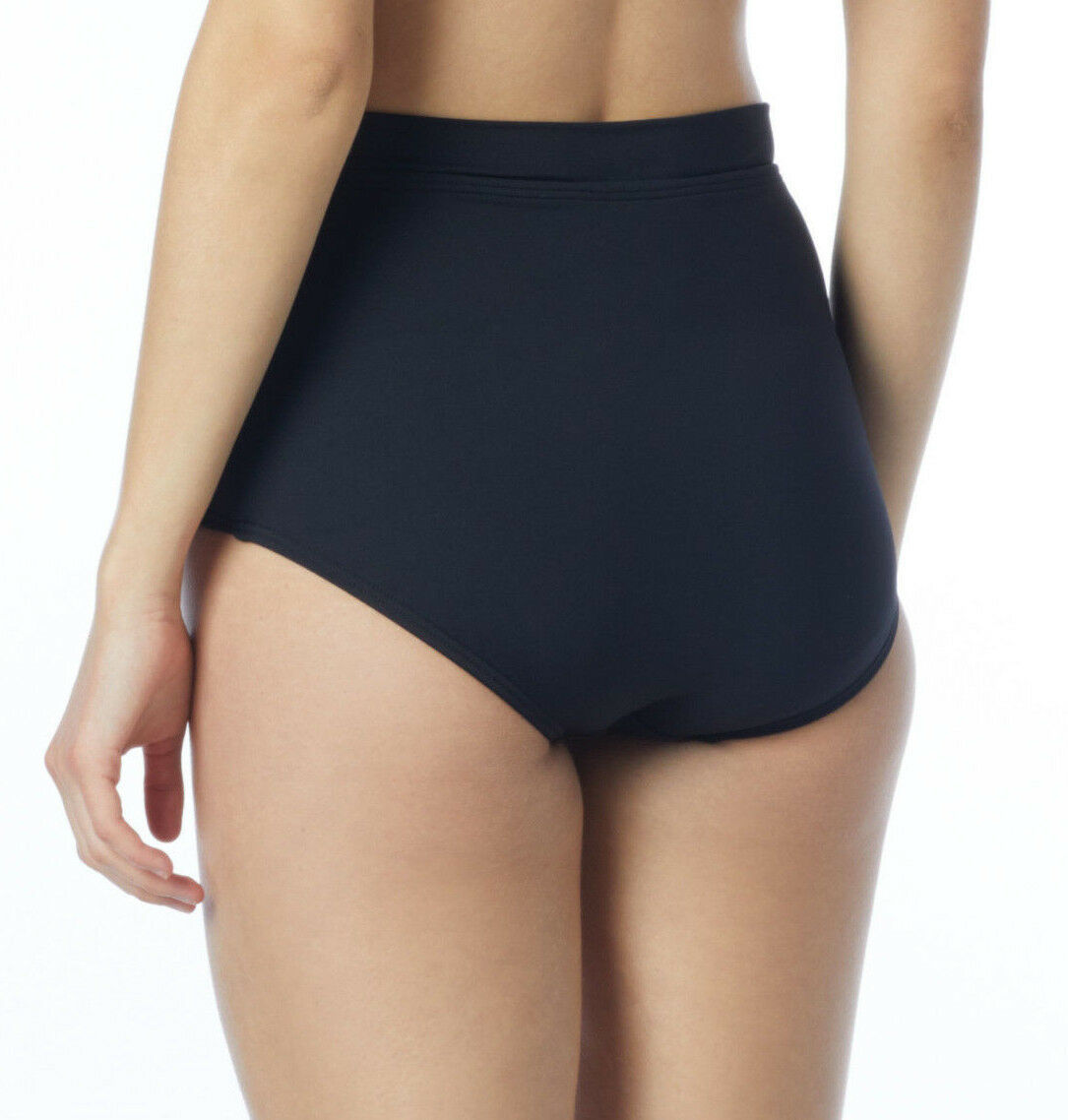 NEW Coco Reef Black Solid High Waisted Power Pant Bikini Bottom Classic Solid L