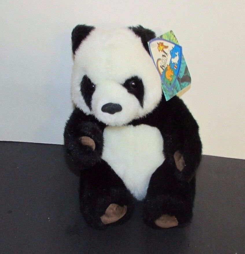 """Small Giant Panda plush brown suede feet foot pads K&M toys 1993 w/ tags 7.5"""""""