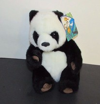 """Small Giant Panda plush brown suede feet foot pads K&M toys 1993 w/ tags 7.5"""" image 1"""