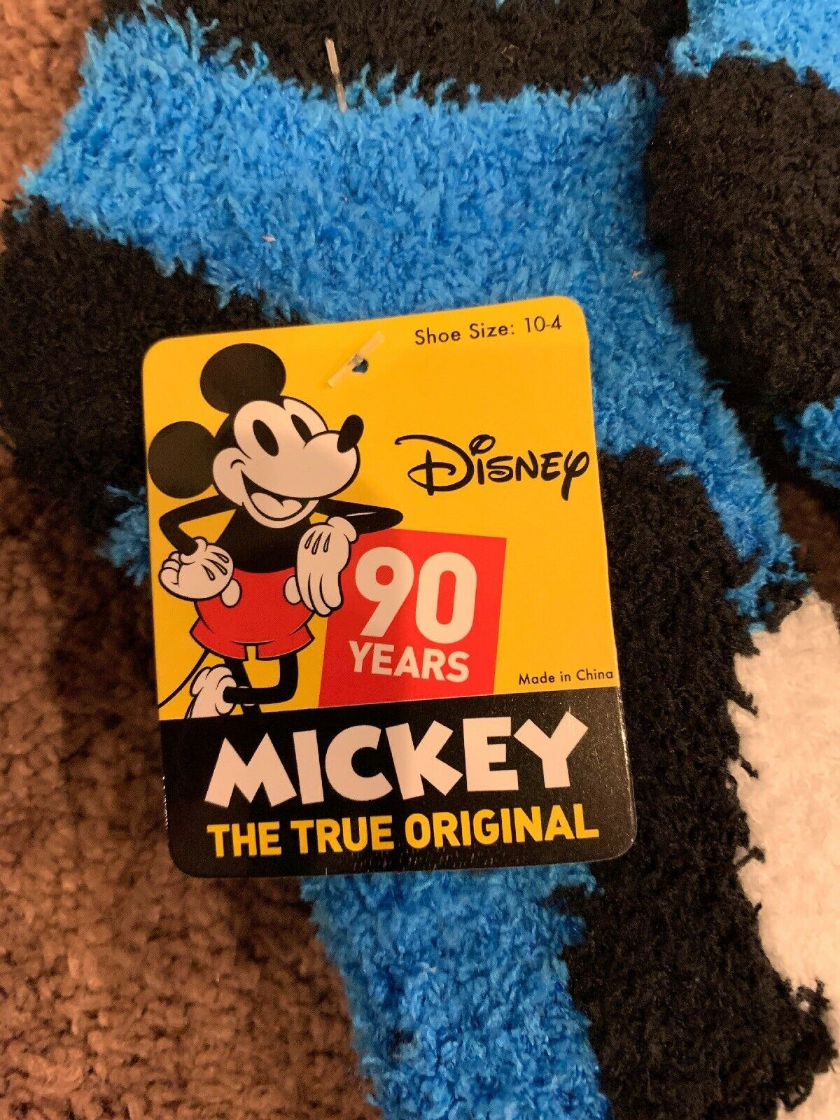 Lot Of 2 NWT Pairs Disney Fuzzy Socks Mickey Mouse Youth Kids 10-4 image 2