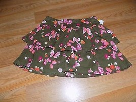 Girl's Size 5 Gymboree Brown Tiered Ruffle Mini Skirt Skort Floral Butte... - $12.00