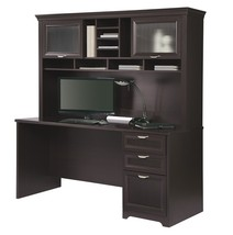 Realspace Magellan Performance Collection Straight Desk + Hutch, Espresso - $479.99