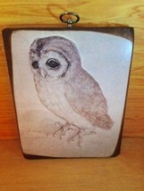 Vintage Bratton's Woodcraft Wooden Owl Plaque Picture - $17.46