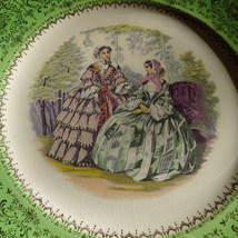 Imperial Salem China Godey Lady Plate Bright Green   - $28.66