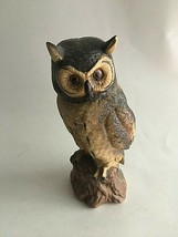 "Vintage Owl on Stomp Ceramic Figurine Statue 7.5""X 2.5"" Mid Century Brown - $10.89"