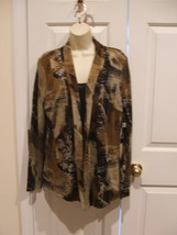 NWT $58 MILANO BROWN PRINT WITH ATTACHED BLACK TANK TOP  TOP SIZE LARGE - $29.69