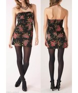 NEW Free People Strapless Mini Dress Black Floral Sateen Size 12 MSRP $108 - $39.99
