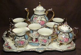 10 Pcs. Brand New Gorgeous European Design Bone China Coffee / Tea Set w... - $296.01