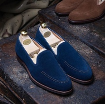 Royal Blue Premium Suede Leather Apron Toe Men Party Wear Stylish Moccasin Shoes - $139.90+