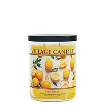 Village Candle Fresh Lemon Medium Tumbler Scented Candle 14 oz Yellow - $33.61