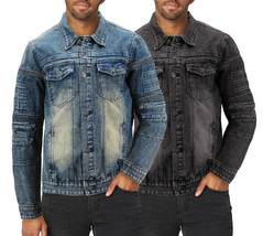 Men's Moto Quilted Cotton Blend Faded Denim Button Up Jean Jacket Slim Fit