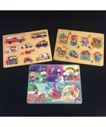 Lot Of 3 Wooden Puzzles Sorting Boards Nursery Rhymes Vehicles Battat To... - $10.39