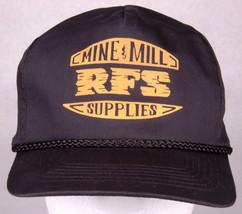 Vtg RFS Mine & Mill Supplies Hat-Rope Bill-Trucker Cap-Black-Snapback-Eq... - $32.71