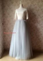 Women Extra Maxi Tulle Skirt Gray High Waist Long Tulle Skirt Party Bridal Tutu image 5