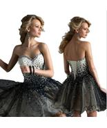 Shiny Crystal Beaded Corset Homecoming Dress Short Black Tulle Cocktail ... - $125.99