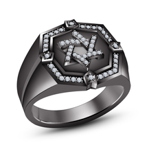 Round Cut Diamond Black Gold Finish 925 Sterling Silver Jewish David Star Ring - $120.50