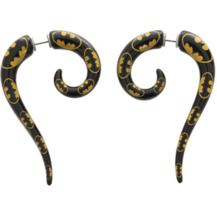 DC Comics Batman Logo Spiral Earrings Faux Pinchers Women's Jewelry Black Yellow