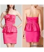 Lilly Pulitzer Mae Azalea Dress Pink Strapless Ruffle Floral Detail Part... - $49.49
