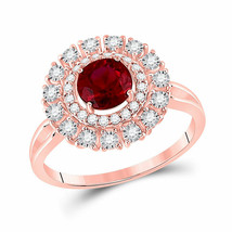 14kt Rose Gold Round Ruby Halo Bridal Wedding Engagement Ring 1-1/3 Ctw - £612.79 GBP