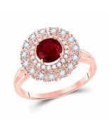 14kt Rose Gold Round Ruby Halo Bridal Wedding Engagement Ring 1-1/3 Ctw - £604.03 GBP