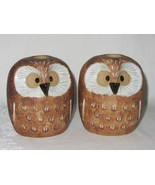 Pair Owl Candlestick Holder Figurines Vtg Brown Art Pottery Stamped Home... - $49.49