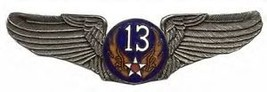 13TH AIR CORPS FORCE  USAF BIG PEWTER WING PIN - $15.33