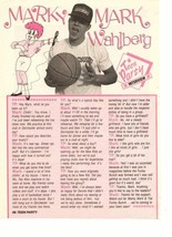 Marky Mark Wahlberg teen magazine pinup clipping Teen Party interview basketball