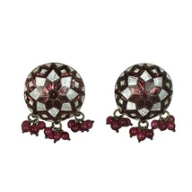 Vintage Cloisonne Clip-on Earrings Rare Geometric Design with Garnets - $24.75