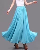 AQUA BLUE Long Chiffon Skirt High Waisted Full Circle Wedding Bridesmaid Skirt image 10