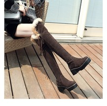 9CB154 Sexy 5 CM heels over-the-knee snow boot,size 4-9, dark brown - $68.80