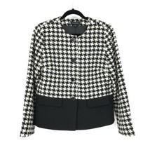 Talbots Femmes Taille 10 sans Col Veste Blazer Noir & Blanc Houndstooth - $41.85
