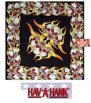 SCREAMING SKULLS Laugh FLAMES Fire Biker Bandana BANDANNA SCARF Scarve H... - $7.54