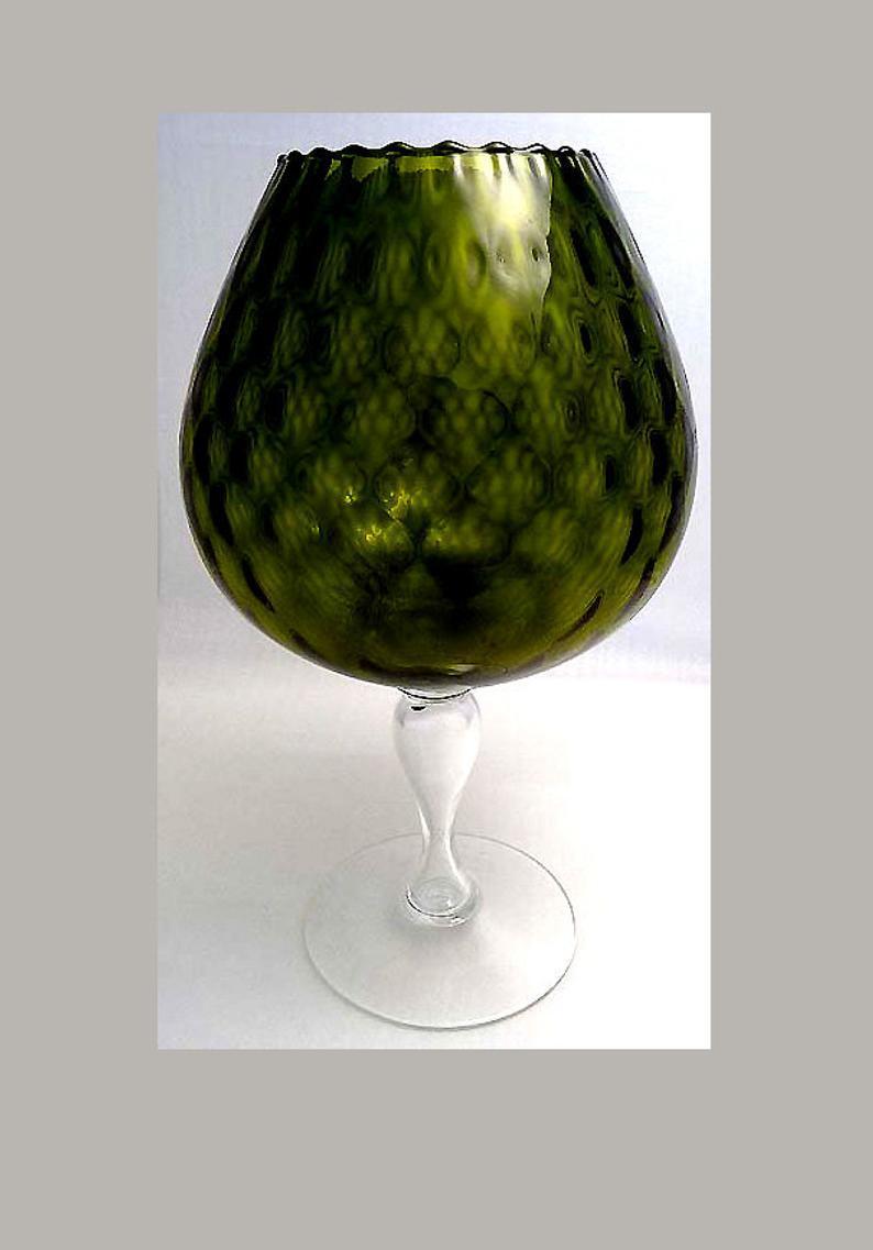 FENTON XLARGE Olive DIAMOND OPTIC Brandy Snifter Vase 1950s Mid Century Mod image 11