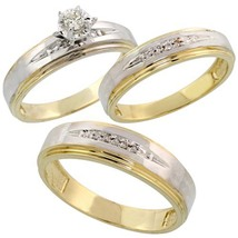 Diamond Trio Engagement Wedding Ring Set His & Hers 14k Yellow Gold Fn Silver - $148.00