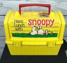 Vintage Go To School with Snoopy Plastic Domed Yellow Lunch Box (NO Ther... - $18.99