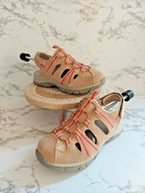 Lands End Womens Round Toe Brown Peach Pink Athletic Hiking Shoes Size US 7 - $24.74