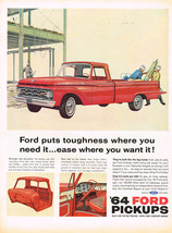 Vintage 1964 Magazine Ad Ford Pickup Built Like The Big Trucks From Axle... - $5.93