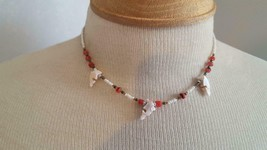 "15""BEACH Tribal Artisan Stone Dolphin Sea Life Beaded Necklace,Salmon Pink White - $7.12"