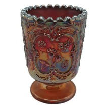 """Fenton Wild Strawberry Carnival Glass Votive Candle Holder 3"""" Red Blue A... - $13.51"""