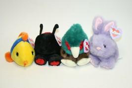Lot of 4 Puffkins Plush Dolls Fish, Ladybug, Owl & Rabbit - Lot # 1 - $11.87