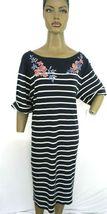 Karen Scott Plus Size 2X,3X Dress Floral Embroidered Striped Shift Dress NEW $54 image 4