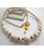 Vintage 80s Liz Claiborne Graduated Long White & Gold Tone Bead Necklace T7 - $15.83