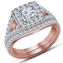 1.25Ct Diamond Engagement Ring Bridal Set 14k Rose Gold Fn 925 Sterling ... - $75.00