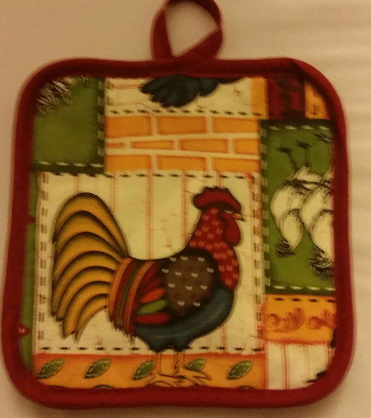 2 Same Printed Kitchen Pot Holders by Emma Brooke, ROOSTER by HD