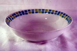 Royal Norfolk Aqua And Green Squares Coupe Soup Bowl - $6.29