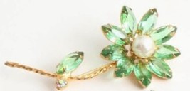 "Vintage 3"" Juliana Green Rhinestone Faux Pearl Center Flower Brooch Pin  - $34.79"