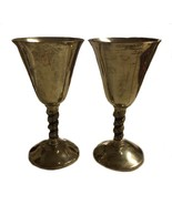 Pair Visiuc Spain Silver Plated Goblet Goblets Grape Vine Wine - $24.74
