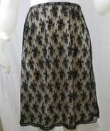 Vtg Vanity Fair Slip Nude Black Lace Overlay Nylon Tricot Sz M Made in USA - $38.59