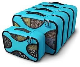 Shacke Pak - 5 Set Medium/Small Packing Cubes - Travel Organizers Aqua Teal - £28.60 GBP